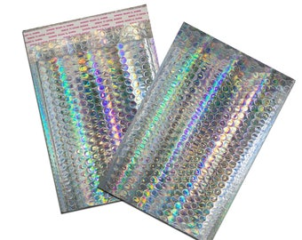 100 Pack -6x10 Holographic METALLIC BUBBLE MAILER, Self Sealing Padded Shipping Envelopes, Size #0 Business Mailers