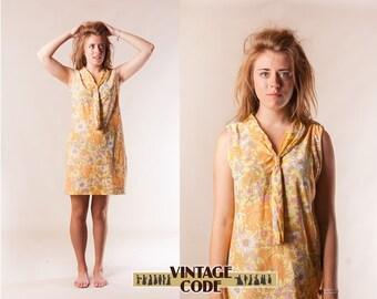 Mod Hippie Yellow floral mini dress / 60s 70s vintage Sleeve less Necktie dress  by Devonshire Lady /  Nylon dress / size Medium