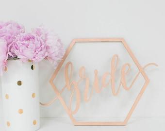 Bride & Groom Modern Geometric Wedding Chair Signs Wood Laser Cut Photo Props