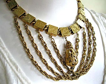 Gold Swag Chains Necklace Collar, Etched Flowers Gold Box Square Links, Pierced Filigree Golden Pear Drop Charm, Draped Swag Chain Choker