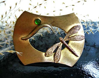 Dragonfly Brass Brooch, Edwardian Art Nouveau Sash Pin, Bright Green Glass Faceted Stone, Flying Darner