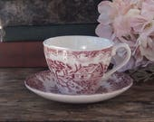 Churchill The Brook Pink Transferware Tea Cup and Saucer, Tea Cup Set
