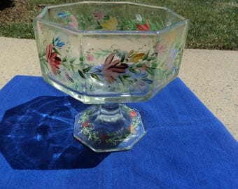 Octagonal footed bowl/ hand painted/ floral design/ vines