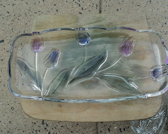 Lovely lead glass platter with tulips in lavender and blue