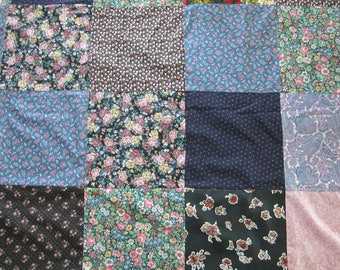 Machine Stitched Square 1980's Pattern Quilt Top, Homemade Patchwork// Unfinished Quilt Top //