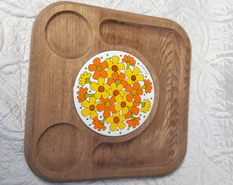 Kitschy Kitchen Wood Serving Tray for Wine & Cheese, Orange Yellow Flowers 1970