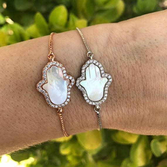 Hand mother of pearl bracelets, boho jewelry