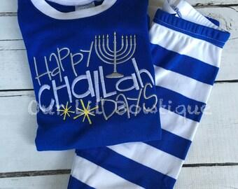 PRE-ORDER -Happy Challah Days - Hanukkah PJs- Pajamas- Personalized PJs -Matching Hanukkah Pajamas - Winter PJs - Doll Pajamas - Hanukkah