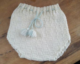 Antique knitted baby bloomer , knitted baby bloomer , handmade baby bloomer , antique baby clothing