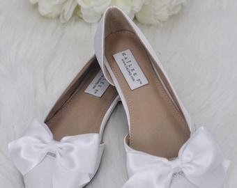 Women Wedding Shoes, Bridesmaid Shoes - WHITE Satin Pointy toe flats with Rhinestones SATIN BOW