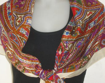 Large Echo Club 7 Wrap Silk Scarf - Pink and Red Paisley - Womens Accessories