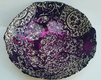 Vintage Decorative Turkish Bowl, AKCAM handmade purple glass with ornate silver overlay, home decor table centerpiece