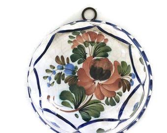 Bassano Italy Ceramic Kitchen Mold Crazing Floral Tuscany Blue Terra Cotta Farmhouse Kitchen Decor