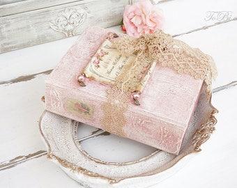 Fairytale Wedding Guest Book,Pale Pink, Gold, Photo album, Shabby Chic Wedding, Custom Wedding Photo Booth album