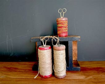 Wooden Spools with Thread, Yarn, Scissors x 3, Decorative - Vintage Indian Spools and Yarn, with Handmade Scissors