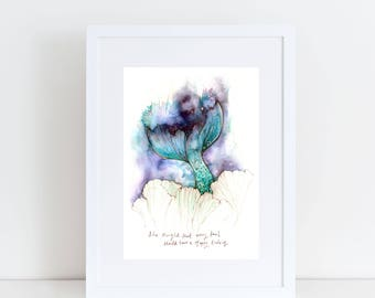 PRINT 5 x 7 A4 Every Tail Large Mermaid tail Mermaid decor art Watercolor Print, Mermaid art, Mermaid gift, Mythical art