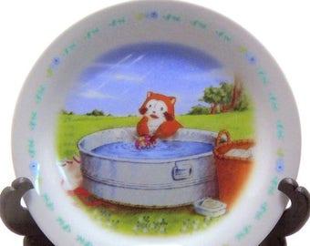 "Half Off July Sale Rascal Raccoon ""Washing"" Collector's Plate Araiguma Rasukaru Nippon Japanese Anime Animal Bowl"
