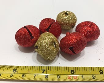 6 piece red and gold glitter jingle bell mix, 25 mm (LR11)