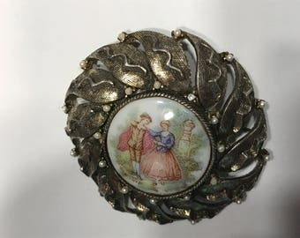 Large Vintage Pin Pendent, 2 inch (BR100/1)