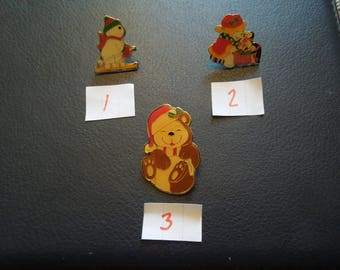 Vintage Christmas Pins.  Christmas Bears, Snow Man.  Price For One Only,  Excellent Condition.