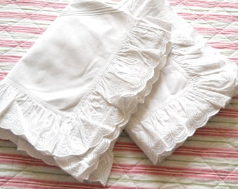 pair of vintage french pillowcases antique pillow sham vintage french pillow case vintage bedding white lace pillow cover