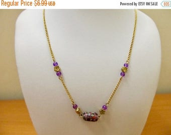 ON SALE 1970s Boho Purple Beaded Nothing Style Necklace Item K # 692