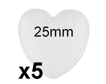 5 cabochons glass 25mm hearts