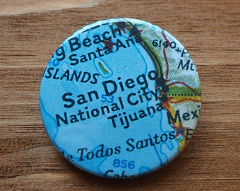 Pinback Button, San Diego, Ø 1.5 Inch Badge, Atlas, Travel, vintage, fun, typography, whimsical