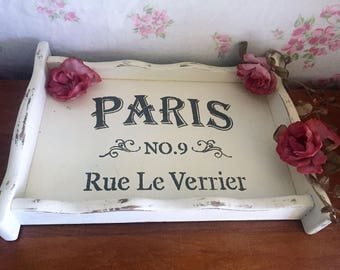 Distressed tray with Paris Theme - wooden tray - painted white tray - Shabby Chic tray - decorative tray