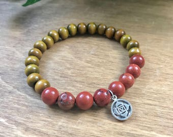 Root Chakra Mala Bracelet, Res Jasper, Sandalwood, Muldhara Chakra, Intrinsic Journeys Jewelry