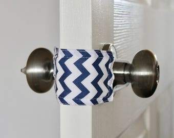 Navy Chevron door latch cover for classrooms, school, teachers, school rooms.