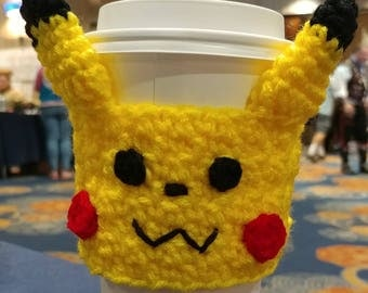 Pikachu coffee cup cozy, crochet