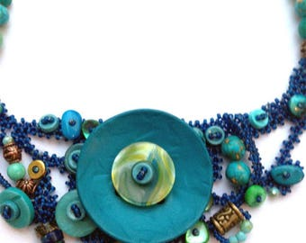 Beaded Button and Bead Statement Necklace Set/ Bib Necklace/ Freeform Peyote Necklace