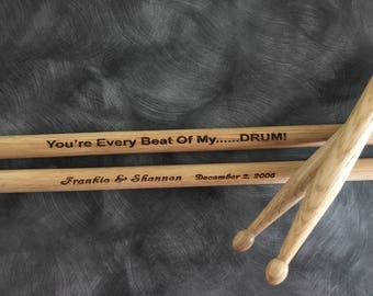 1 Pair Personalized Custom Engraved 16 Inch Wood Drumsticks 5A or 2B