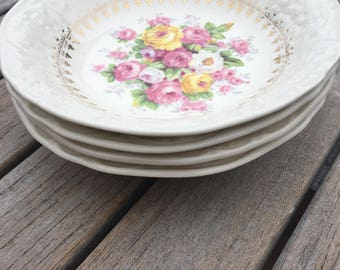 EDWIN KNOWLES BERRY Bowls- Beautiful Floral Center - Made in America - 22 Karat Gold
