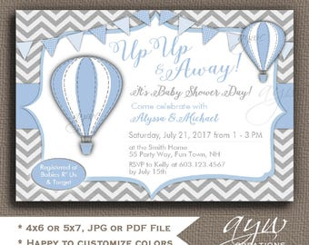 Hot Air Balloons Baby Shower Invitations Boy Up Up and Away Baby Shower Invitations Baby Shower Invites Hot Air Balloon for Boy Chevron
