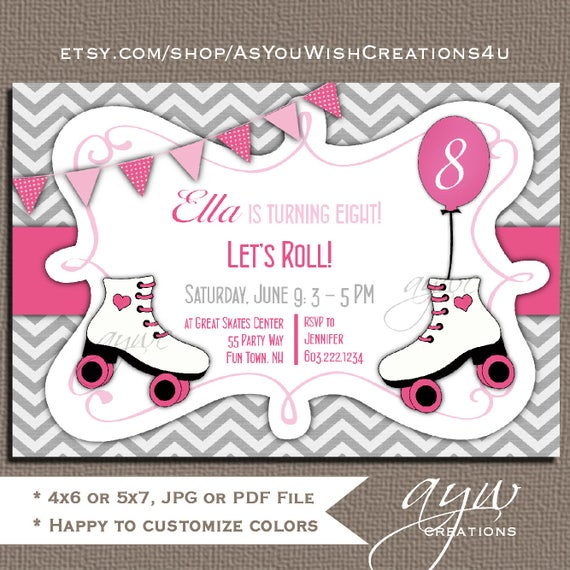 Roller Skating Birthday Party Invitation Printable – Roller Skating Birthday Party Invitations