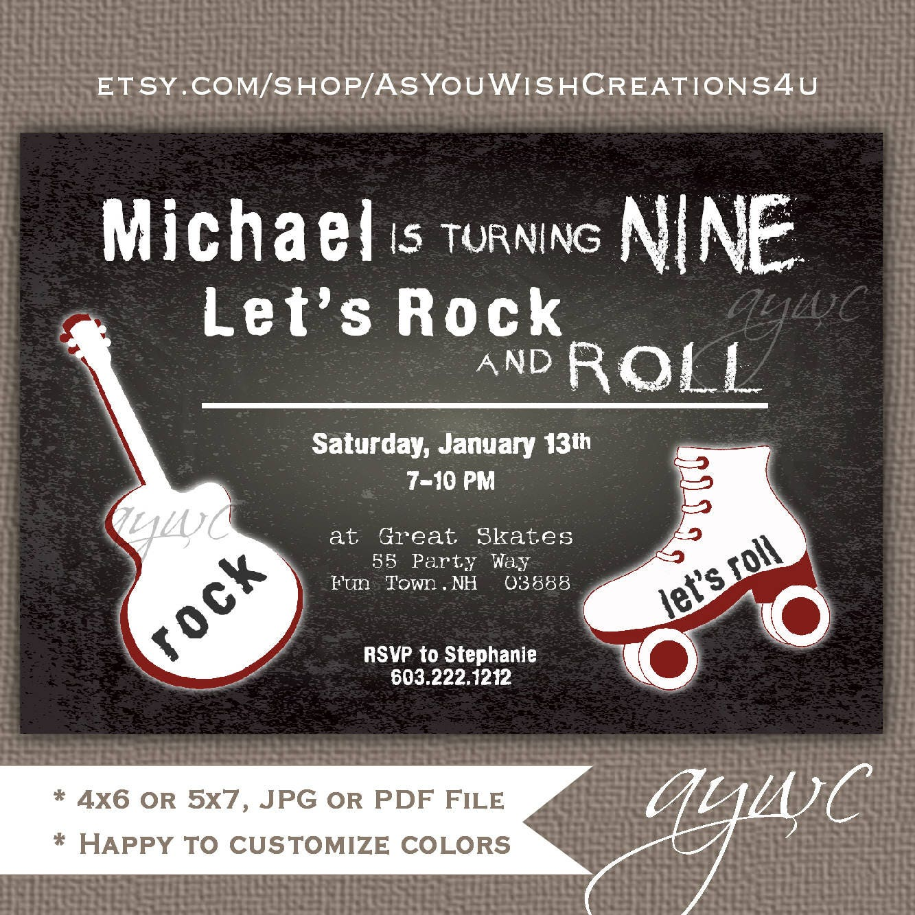 Rollerskating Birthday Invitation Printable Rock and Roll