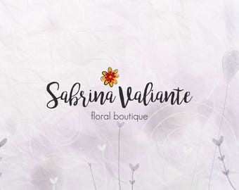 Floristry Logo Design. Flower logo. Calligraphy Font.  Custom Boutique Branding. Watermark Logo BUY 2 and GET 1 FREE!!!