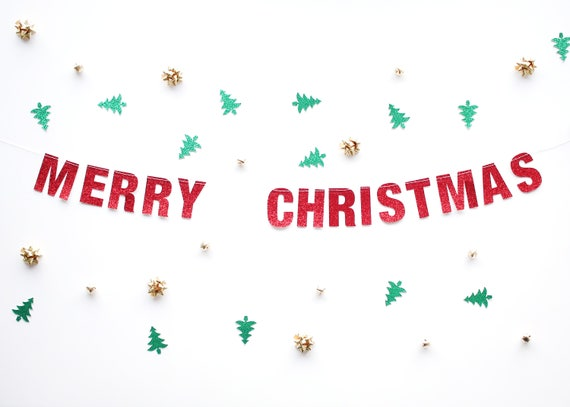 MERRY CHRISTMAS Glitter Banner - Glitter Letters. Holiday Decor. Dorm Decor. Christmas Decorations. Christmas Party Banner.