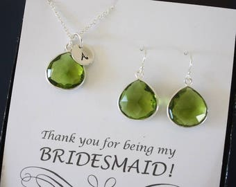 2 Monogram Bridesmaid Necklace and Earring set Green, Bridesmaid Gift, Green Quartz, Sterling Silver, Initial Jewelry, Personalized