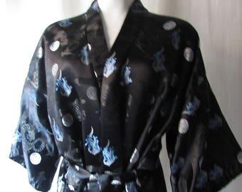 vintage 1980s Chinese Robe Black Blue Unisex Rayon