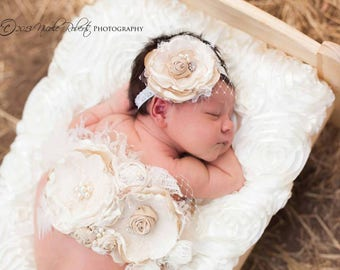 Gorgeous Neutral Cream Ivory and Nude Tan Handmade Double Flower Sash Wedding Sash Pregnancy Maternity Sash and Baby Headband