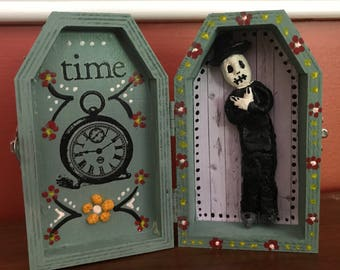 Day of the Dead Coffin Skeleton Shrine wood and Clay