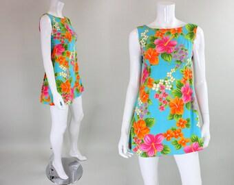 1960's Hawaiian Mini Dress with Floral Print