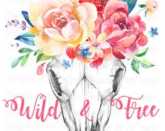 Wild & Free Skull with Flowers Heat Press Transfer DIY Iron on Transfer