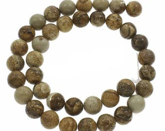 15 Inch Strand Of  Natural Picture Jasper Round Bead 8mm(48pc)-734b