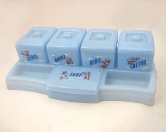 1950s Changing Station Organizer - Babys Room Decor - Its a Boy - Lidded Jars - 50s light blue plastic
