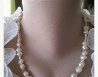 ON-SALE Pearl Necklace for Bridesmaid - White Freshwater Pearl, Single Strand Pearl Jewelry, Handmade Pearl Jewelry - Buy 5 Get 1 FREE