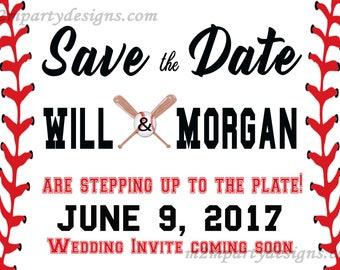 Baseball Save the Date Printable Invitations, Rehearsal Dinner Invitation